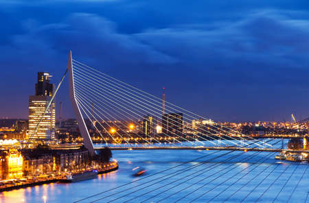 Beautiful image of the famous Erasmus bridge over the river Meuse in Rotterdam, the Netherlands
