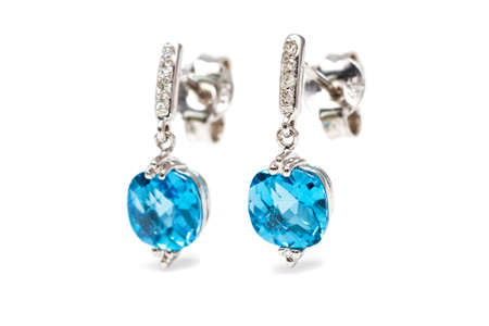 diamond earrings: Isolated white gold aquamarine earrings with small diamonds