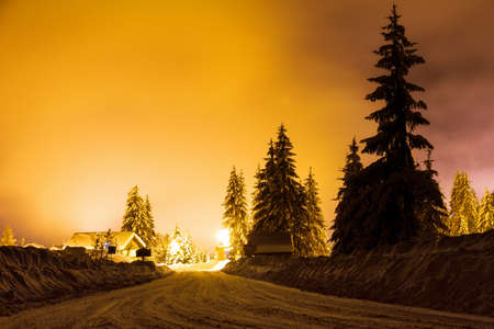 Night scene with snow on the trees in the light of a street light in Chatel, France photo