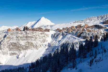 Cityscape of the town of Avoriaz in the Portes du Soleil in France on a sunny day photo
