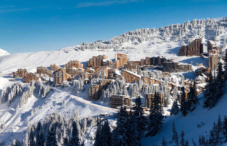 soleil: Cityscape of the town of Avoriaz in the Portes du Soleil in France on a sunny day