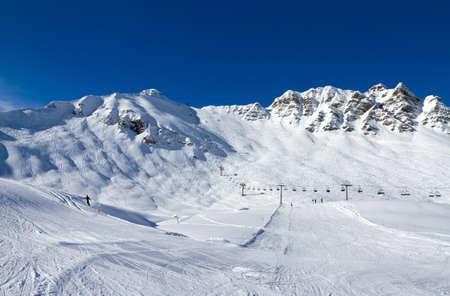 moguls: Le Pas de Chavanette, also known as the  Mur Suisse  or  Swiss Wall  in the Portes du Soleil  Stock Photo