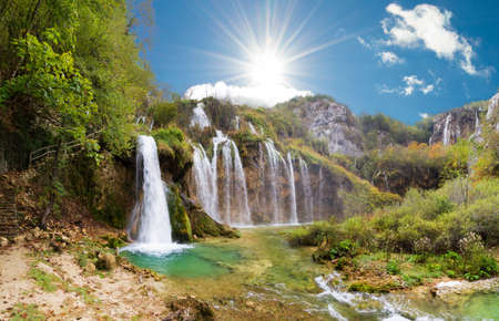 Magnificent view on the beautiful falls of Plitvice national park in Croatia