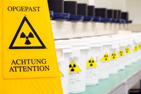 Warning sign for radioactive materials photo