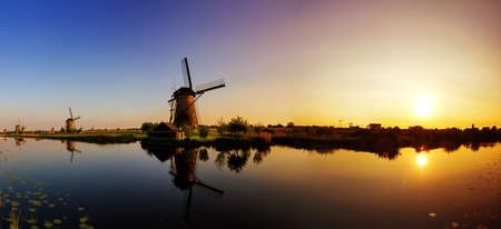 Beautiful panoramic image of the dutch windmills at Kinderdijk, the Netherlands   photo