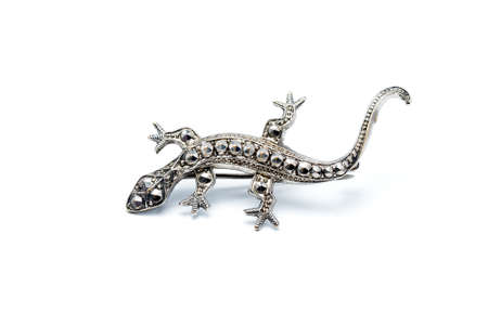 Handcrafted antique brooch in the shape of a lizard with marcasite  photo