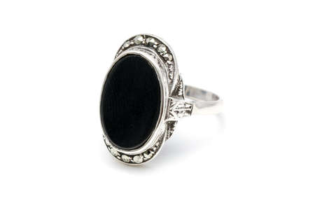 black onyx: Silver seal ring with a black onyx stone Stock Photo