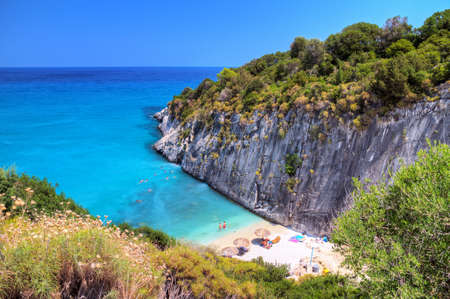 Beautiful look over the bay of Xigia with a sulphur and collagen spring on the island of Zakynthos, Greece