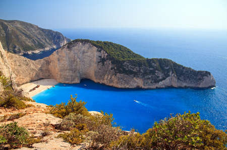 Beautiful panorama of Navagio or Shipwreck beach on the island of Zakynthos in the afternoon photo