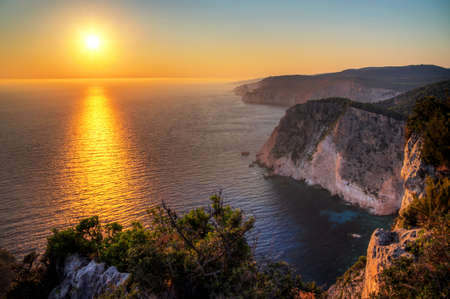 Beautiful sunset at the cliffs of Keri on the island Zakynthos