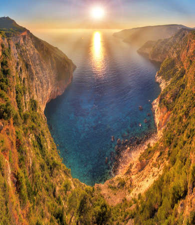 steep cliffs: Beautiful panorama from the top of the steep cliffs at Kampi on the island of Zakynthos, Greece  HDR Stock Photo