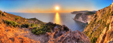 steep cliffs: Beautiful panorama from the top of the steep cliffs at Keri on the island of Zakynthos, Greece  HDR Stock Photo
