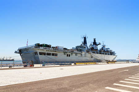 Royal Navy Military ship the HMS Bulwark in the port of Lisbon, Portugal, in August 2013