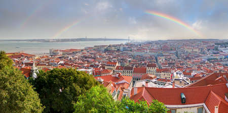Beautiful view over the city of Lisbon, Portugal, with a rainbow photo