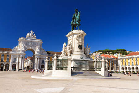 Beautiful image of the gate and statue of  King Jose on the Commerce square  Praca do Comercio  in Lisbon, Portugal
