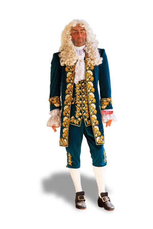 conquistador: A mannequin  doll  with a traditional ancient Portuguese outfit against a white background