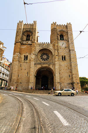 patriarchal: Facade of the Patriarchal Cathedral of St  Mary Major  or Lisbon Cathedral in Lisbon, Portugal Editorial