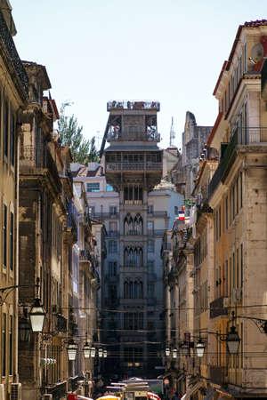 justa: Lisbon street scene cityscape with the Santa Justa elevator in Lisbon, Portugal