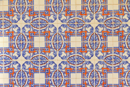 Close up image of the beautifully decorated tiles on the houses in the streets of Lisbon, Portugal Stock Photo
