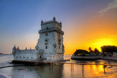 Beautiful image of the famous Belem tower at sunset in Lisbon, Portugal  HDR photo