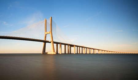 Beautiful panoramic image of the Vasco da Gama bridge in Lisbon, Portugal photo
