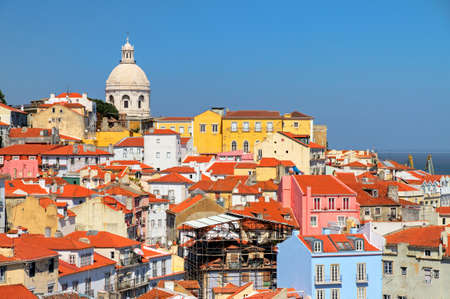 pantheon: Beautiful colorful and vibrant summer cityscape of Lisbon, Portugal