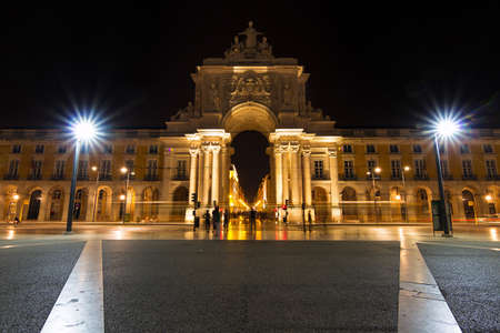 View on the gate on the Commerce square  Praca do Comercio  in Lisbon, Portugal, at night photo