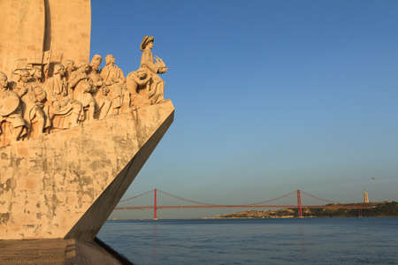 discoveries: Detail of the Monument to the Discoveries at sunset in Lisbon, Portugal Editorial