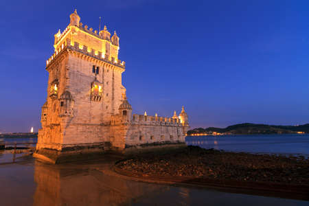 Beautiful image of the famous Belem tower after sunset during the blue hour in Lisbon, Portugal