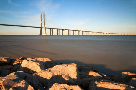 Beautiful image of the Vasco da Gama bridge in Lisbon, Portugal photo