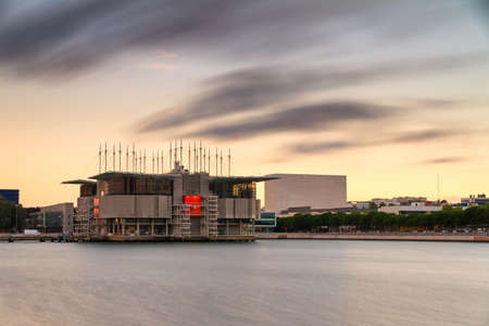 Long exposure sunset view of the Lisbon Oceanarium in Portugal photo