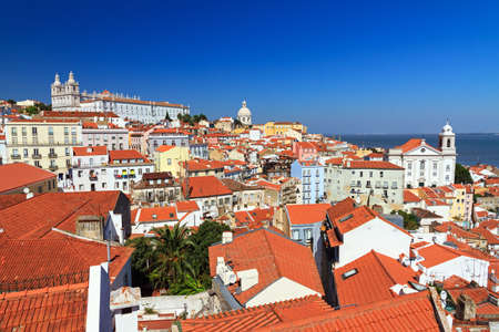 Beautiful colorful and vibrant summer cityscape of Lisbon, Portugal