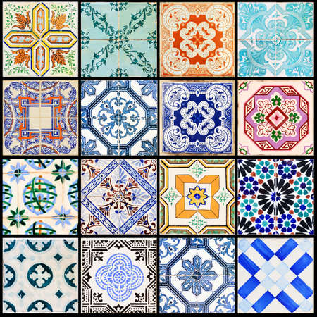 Beautiful collage of all kind of different tiles of the houses of Lisbon, Portugal photo