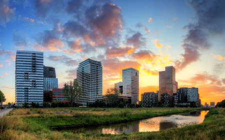 Beautiful sunrise panorama of the office buildings in Amsterdam South, The Netherlands Stock Photo