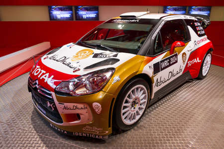 irc: Citroen DS3 WRC in the showroom on the Champs Elysees in Paris, France, on February 20, 2014