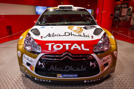 elysees: Citroen DS3 WRC in the showroom on the Champs Elysees in Paris, France, on February 20, 2014