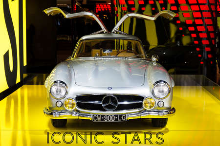 Mercedes 300 SL Gullwing in the iconic stars showroom on the Champs Elysees in Paris, France, on February 20, 2014