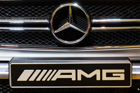 elysees: Close up of the front of the Mercedes G63 AMG in the iconic stars showroom on the Champs Elysees in Paris, France, on February 20, 2014