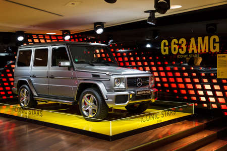Mercedes G63 AMG in the iconic stars showroom on the Champs Elysees in Paris, France, on February 20, 2014