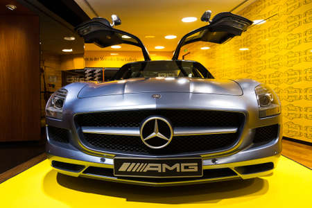 champs elysees: Mercedes SLS AMG in the iconic stars showroom on the Champs Elysees in Paris, France, on February 20, 2014