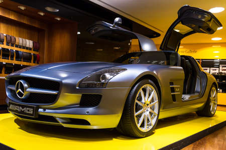 elysees: Mercedes SLS AMG in the iconic stars showroom on the Champs Elysees in Paris, France, on February 20, 2014