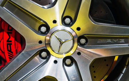 elysees: Close up of the wheel of the Mercedes G63 AMG in the iconic stars showroom on the Champs Elysees in Paris, France, on February 20, 2014 Editorial