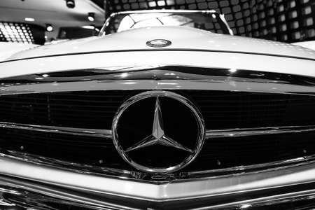 champs elysees: Mercedes 280 SL Pagode in the iconic stars showroom on the Champs Elysees in Paris, France, on February 20, 2014