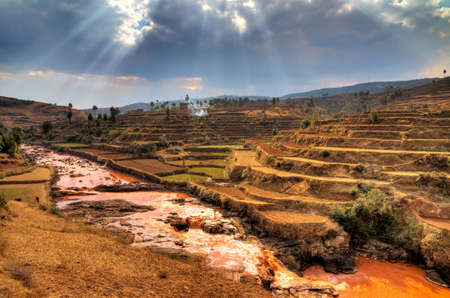 Beautiful view of on of the many different landscapes of Madagascar  Rainforests have disappeared and rice paddies dominate the landscape  HDR photo