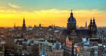 Sunset cityscape in winter of the skyline of Amsterdam, the Netherlands  HDR Stok Fotoğraf
