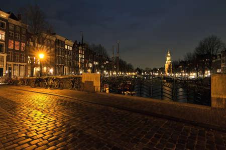 Night scene of a bridge in Amsterdam, the Netherlands photo