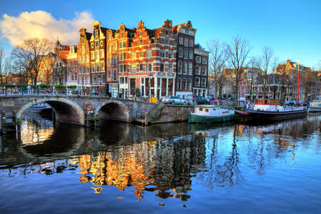 Beautiful image of canals the  Brouwersgracht  en  Prinsengracht  Prince s canal   in Amsterdam, the Netherlands  HDR photo