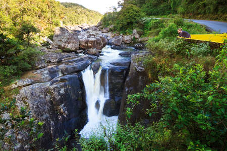 Andriamamovoka waterfall on the Namorona River in Ranomafana national park in Madagascar