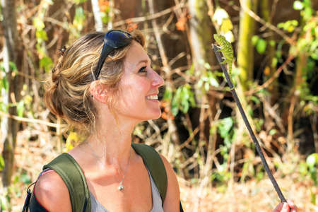 Beautiful woman exploring and having fun with the wildlife in Madagascar