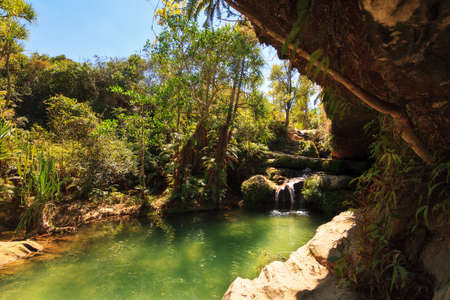 Beautiful oasis La Piscine Naturelle in Isalo national park in Madagascar.